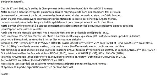 Cross texte annecy
